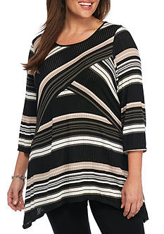 Kim Rogers Plus Size 3/4 Sleeve Spliced Stripe Top
