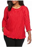 Kim Rogers® Plus Size Bodre Woven Knit Top