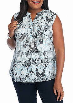 Kim Rogers® Plus Size Sleeveless Woven Printed Top