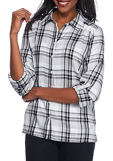 Kim Rogers® Three-Quarter Roll Tab Sleeve Plaid Shirt