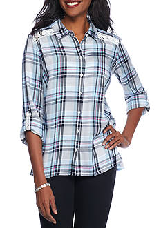 Kim Rogers® Plaid Boyfriend Rolled Sleeve Shirt