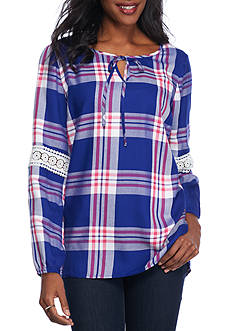 Kim Rogers® Plaid Peasant Shirt