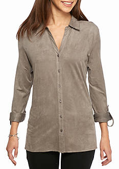 Kim Rogers® Roll Sleeve Button Front Shirt