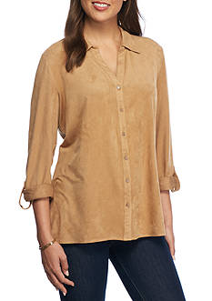 Kim Rogers Roll-Sleeve Button Front Shirt