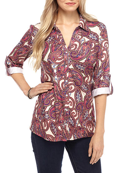Kim Rogers® Paisley Print Roll Up Sleeve Knit Top