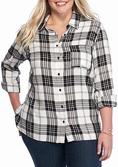 Kim Rogers Plus Size High Low Plaid Shirt