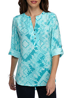 Kim Rogers Split Neck Woven Top