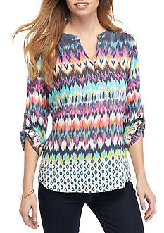 Kim Rogers Petite Size Multi Color Roll Sleeve Top