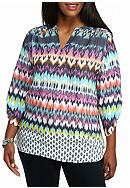 Kim Rogers® Plus Size Multi Color Roll Sleeve