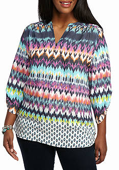 Kim Rogers Plus Size Multi Color Roll Sleeve Top