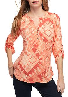 Kim Rogers Petite Size Tie Dye Roll Sleeve Top