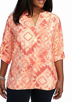 Kim Rogers Plus Size Tie Dye Roll Sleeve Top
