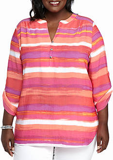 Kim Rogers Plus Size Printed Liano Top