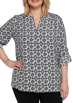 Kim Rogers Plus Size 3/4 Roll Tab Sleeves Woven Top