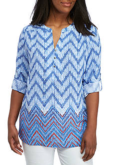 Kim Rogers Plus Size Three-Quarter Sleeve Chevron Top