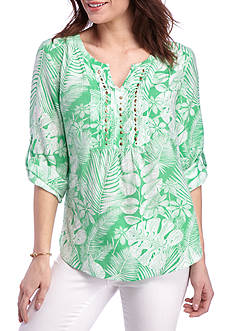 Kim Rogers 3/4 Sleeve Split Neck Bibbed Leaf Print Top