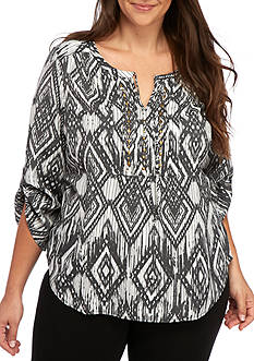 Kim Rogers Plus Size 3/4 Sleeve Woven Top