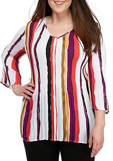 Kim Rogers Plus Size Three-Quarter Sleeve Vibrant Woven Top