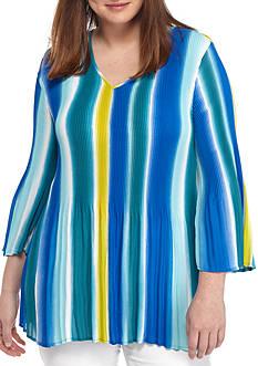 Kim Rogers Plus Size Three-Quarter Woven Top