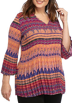 Kim Rogers Plus Size Three-Quarter Sleeve Woven Top