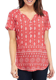 Kim Rogers Short Sleeve Split Neckline Bandana Top