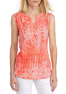 Kim Rogers Sleeveless Split Neck Printed Top