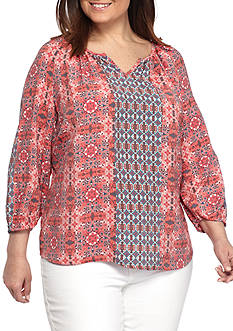 Kim Rogers Plus Size 3/4 Sleeve Print Peasant Body Top