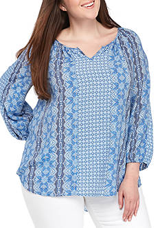 Kim Rogers Plus Size Three-Quarter Sleeve Peasant Body Top
