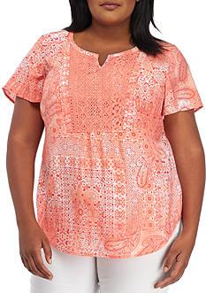 Kim Rogers Plus Size Crochet Patchwork Chevron Top