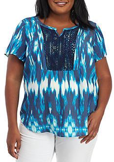 Kim Rogers Plus Size Crochet Tie Dye Chevron Top