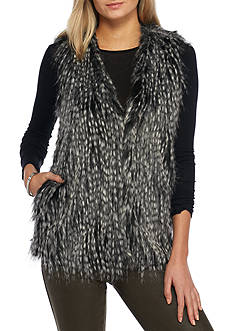 Jack by BB Dakota Agenta Stripe Faux Fur Vest