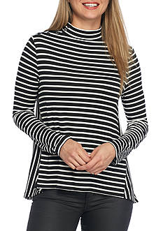 Jack by BB Dakota Cynthia Stripe Mock Knit Top