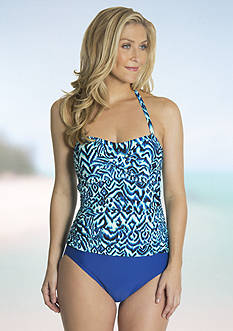 Beach Diva Shirred Bandeau One-Piece
