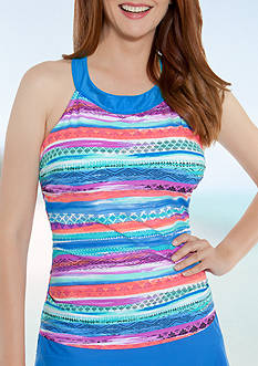 Beach Diva Ethereal Illusion Hi Neck Tankini