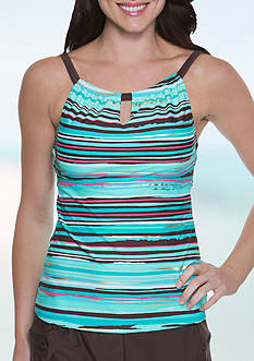 Beach Diva Sunset Stripe Hi Neck Tankini