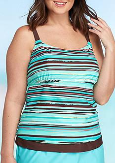 Beach Diva Plus Size Global Stripe Too Tankini