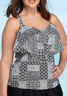 Beach Diva Plus Size Patchwork Ruffle Tankini