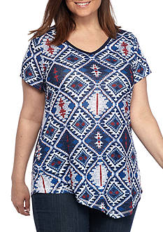 New Directions Weekend Plus Size Asymmetrical Hem Americana Tee