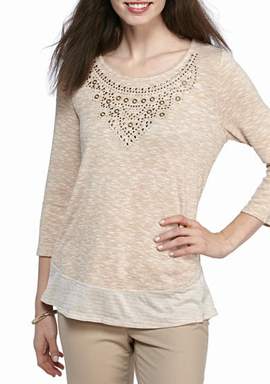 New Directions® Weekend Embellished Space Dye 2Fer Top