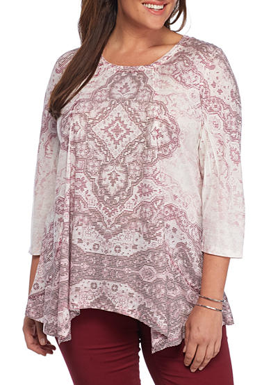 New Directions® Plus Size Printed Linen Sharkbite Top
