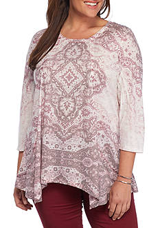 New Directions Plus Size Printed Linen Sharkbite Top