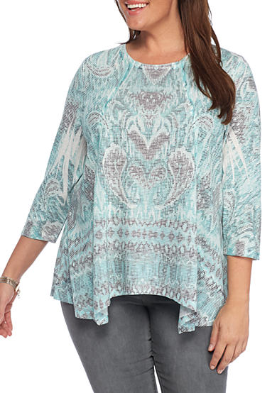 New Directions® Weekend Plus Size Printed Linen Sharkbite Top