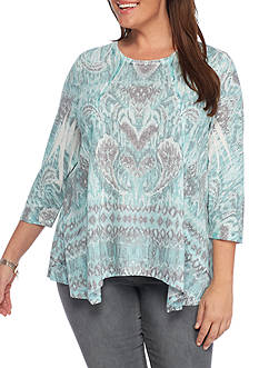 New Directions Weekend Plus Size Printed Linen Sharkbite Top