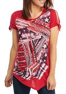 New Directions Weekend Tie Sleeve Printed Tee