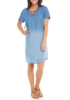 New Directions® Weekend Short Sleeve Lace Up Chambray Dress