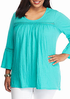 New Directions Weekend Plus Size Crochet Trim Top