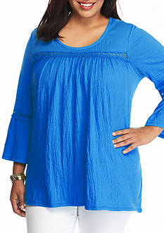 New Directions Weekend Plus Size 3/4 Bell Sleeve Lace Inset Tunic