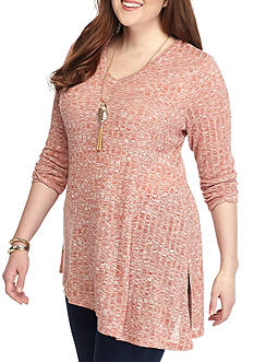 New Directions Weekend Plus Size Double V-Neck Rib Top