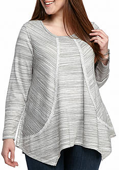 New Directions Weekend Plus Size Spacedye French Terry Sweatshirt