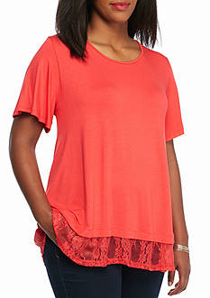 New Directions® Plus Size Lace Trim Top